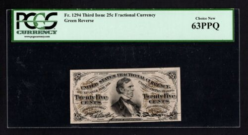 FR 1294 25c Fractional Currency Third Issue - Colby/Spinner PCGS 63PPQ CH NEW