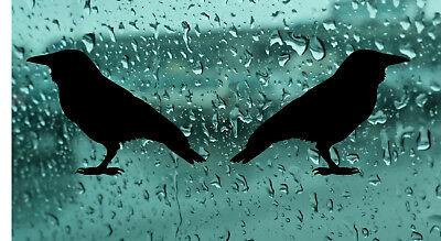 2X Crow Silhouette Gothic Vinyl Sticker DecalCar Bumper Laptop Window Wall ()