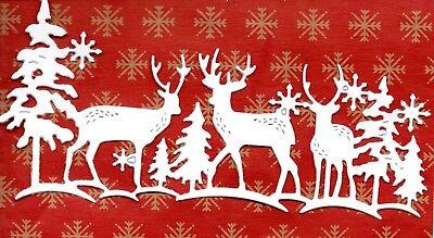 NEW DEER IN WOODS BORDER SCENE DIE CUTS - WINTER TREE CHRISTMAS SNOW TOPPER