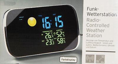 Funk Wetterstation LC-Farbdisplay Wetteranimation Aussensensor Funkuhr NEU/OVP