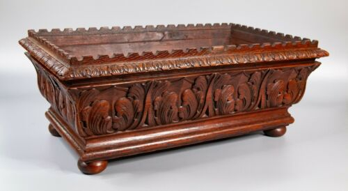 Antique 19th Century French Hand Carved Mahogany Jardiniere Planter