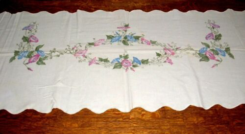 """Vintage  *Morning Glory* Table Runner/Pillow Cover 88"""" x 24"""""""