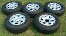 TOYOTA HILUX RIMS AND TYRES (FIVE) NEW & WHEEL CENTRES NEW (FOUR) Henley Beach Charles Sturt Area Preview
