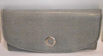 Grey Faux Leather. Embossed Reptile Pattern, Tri Fold Travel Jewelry Roll Case