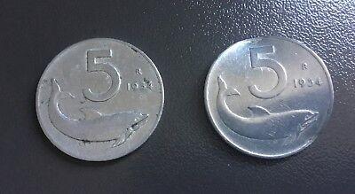 ITALIA  - 1954 - 2 monete 5 Lire Delfino  usato  Bologna
