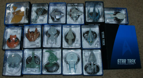 Lot of 16 Eaglemoss Star Trek Ships #15 - 30 All in Boxes w/ Magazines in Binder