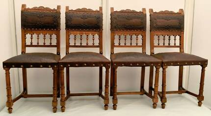 Retro Baronial Style Walnut Dining Chairs in good condition