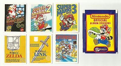 1992 MERLIN Nintendo #1 - #6 Stickers Super Mario Zelda + Sealed Packet Game Boy