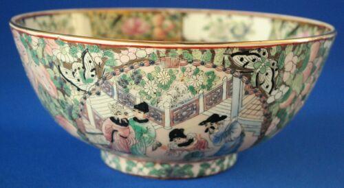 "Chinese Rose Medallion Style Porcelain Bowl 10"""
