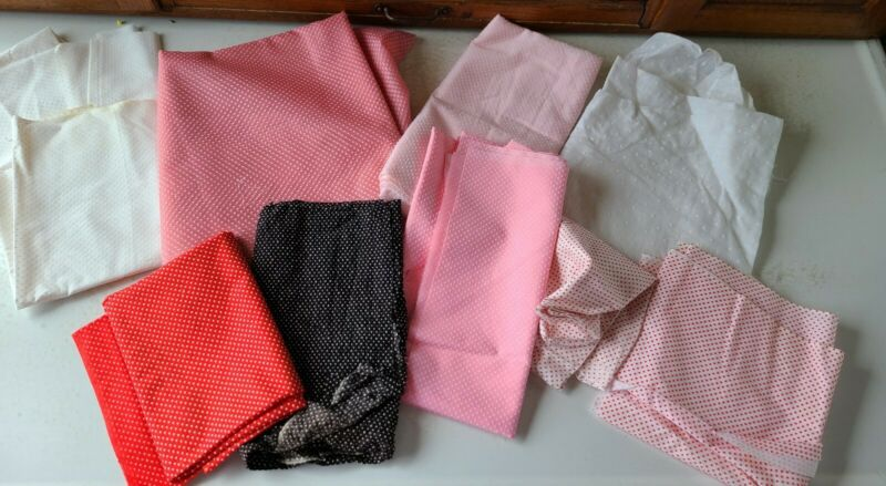 Lot Of Vintage Raised Polk A Dot Fabric Assorted Types Sizes Quilters Stock Pile