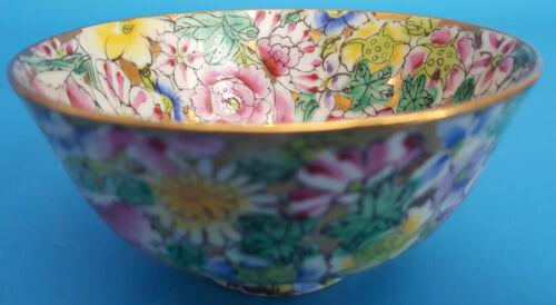 Vintage Hand Painted In Hong Kong Porcelain Bowl Floral Design with Golden Rim