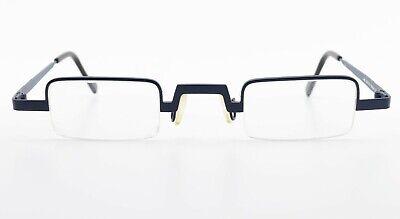 THEO BELGIUM Brille Modell Sirocco 24 Rectangle Half Rim Eyeglasses Blue Medium