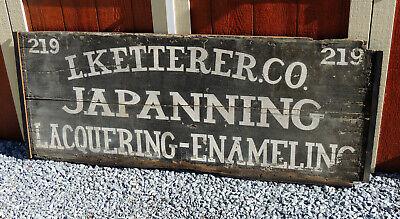 Antique c1900 L. KETTERER Tin Toleware Japanning WOOD Trade SIGN Philadelphia PA
