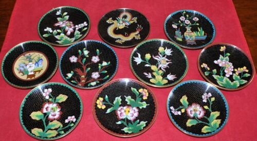 Set of 10 Antique Chinese Cloisonne Enamel on Bronze Plates.