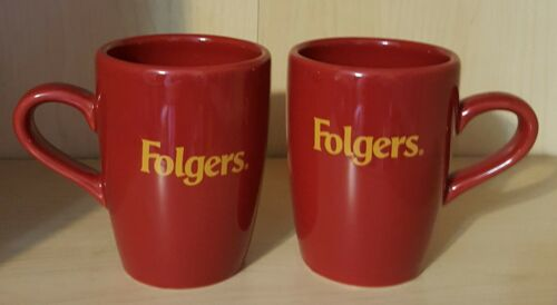 FOLGERS MUGS Set of 2 Dark Red GOLD FOLGERS  Collectible Coffee Cups Ceramic