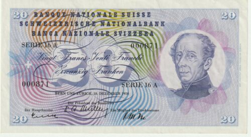 Switzerland 20 Francs Banknote 18.12.1958 Choice Extra Fine Con,Pick#46-F-000871