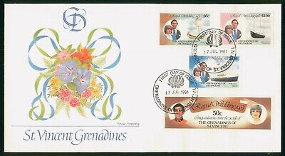 Mayfairstamps St Vincent Grenadines FDC 1981 Princess Diana Prince Charles Combo