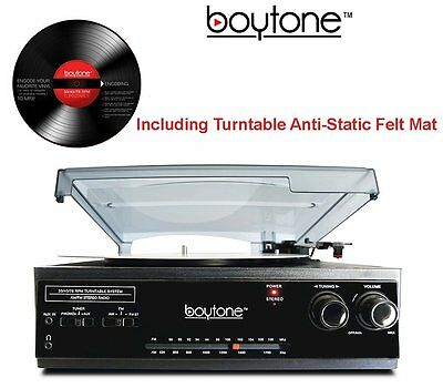Boytone BT-13B Record Player Turntable Bluetooth 3 Speed Stereo AM/FM Radio NEW