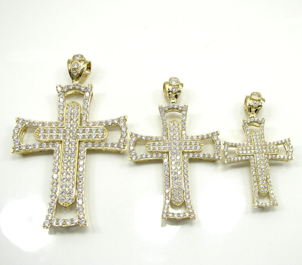 14K YELLOW GOLD FINISH 2.5CT 3.0 X2.0 INCH LARGE DOUBLE CROSS PENDANT CHARM - $165.00