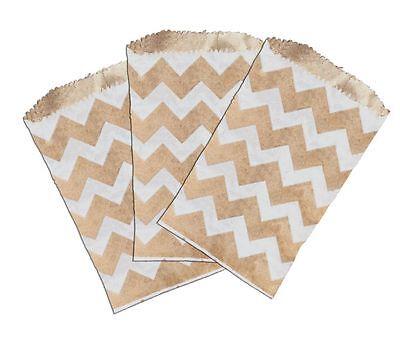 50 -3x5 Mini Natural Kraft White Chevron -flat Paper Treat Bags