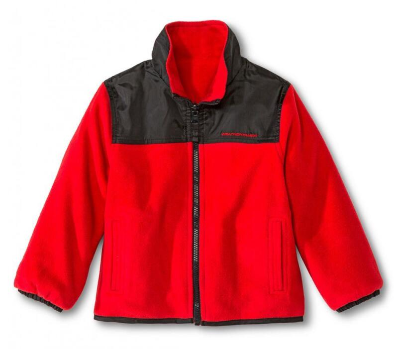 Weather Tamer Toddler Boys Red Reversible Fleece Jacket Size 2T 3T 4T 5T
