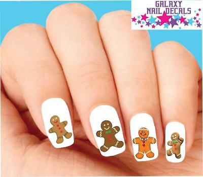 Waterslide Nail Decals - Set of 20 Holiday Christmas Gingerbread Man Assorted](Christmas Nail Decals)