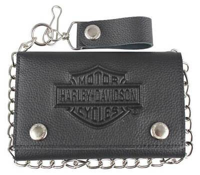 Harley-Davidson® Mens Embossed Tri-Fold Black Leather Chain Wallet XML3514-BLACK Fold Black Leather