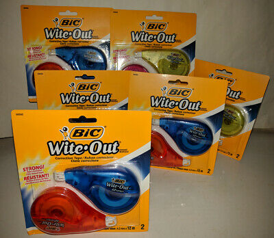 Bic Wite-out Brand Ez Correct Correction Tape 2per Pak Lot Of 6 Packs