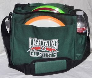 Green Lightning Disc Golf Starter Bag Holds 10 -12 Discs