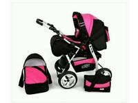 REDUCED! Baby Pram Stroller Pushchair Carrycot Travel System Buggy SWIVEL WHEELS