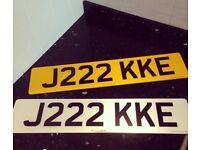 PRIVATE NUMBER PLATE - JAKE - J222KKE