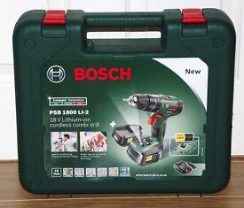Bosch PSB 1800 LI - 2 CORDLESS COMBI DRILL WITH 2 BATTERIES - BRAND NEW