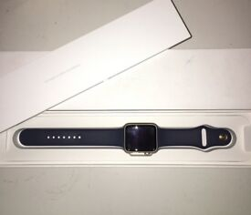Apple Watch 42mm royal blue sport band and gold stainless steel colourway