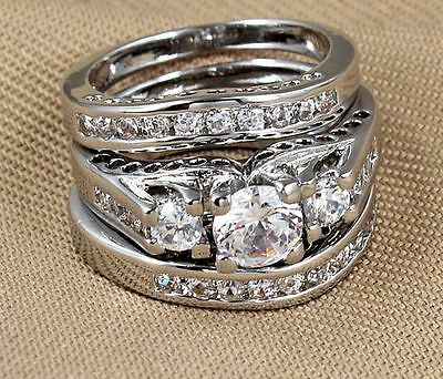 Vogue CZ 3pcs 925 Silver Sterling Wedding Engagement Rings Set Sz 6,7.8.9.10.11