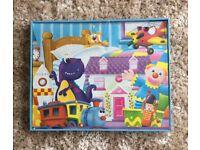 Blue toy box, storage, playroom - teddy, clown, aeroplane, dinosaur, train