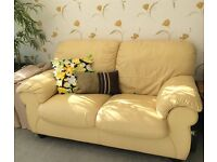 Two Seater Yellow Leather Sofa