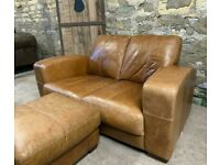 Antiqued Tan Italian Leather Sofa & Footstool