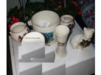 5 x vintage, crested, bone china souvenir items