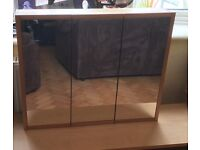 Mirrored Bathroom Cabinet - two glass shelves