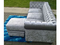 A New Hampton 3 Seater Grey Crushed Velvet Buttoned Back L-Shaped Lounger