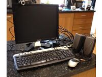 Dell monitor, web cam, wireless keyboard, mouse, speakers and cables