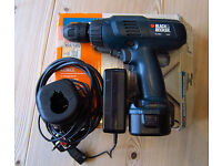 Black and Decker small 9.5v electric drill. Works but battery is very poor. Spares or repair