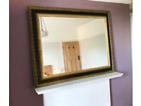 LARGE VINTAGE WALL MIRROR, GOTHIC, BLACK GOLD FRAME, ORNATE, HEAVY SOLID, OVERMANTLE