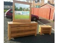 Soild oak bedroom sideboard with legend mirror and bedside locker
