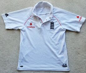 """LARGE BOYS ENGLAND ADIDAS OFFICIAL CRICKET SHIRT WHITES TOP JERSEY AGE 12-14 VGC APPROX 34"""" CHEST"""