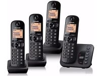 Panasonic KX-TGC224EB Digital Cordless Phone with LCD Display - Black (Pack of 4)