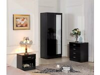 MIRRORED BLACK HIGH GLOSS BEDROOM FURNITURE - SOFT CLOSE WARDROBE, CHEST & BEDSIDE **BRAND NEW**
