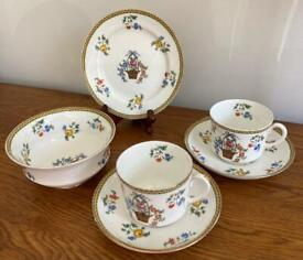 Vintage Aynsley Bone China Flower Basket Design - Plate, 2 Cups & Saucers and Bowl