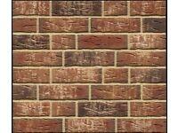 Brick tiles NF658 red/black white flamed