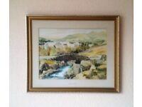 Framed watercolor of Ashness Bridge in Lake District . 55cm x 67cm